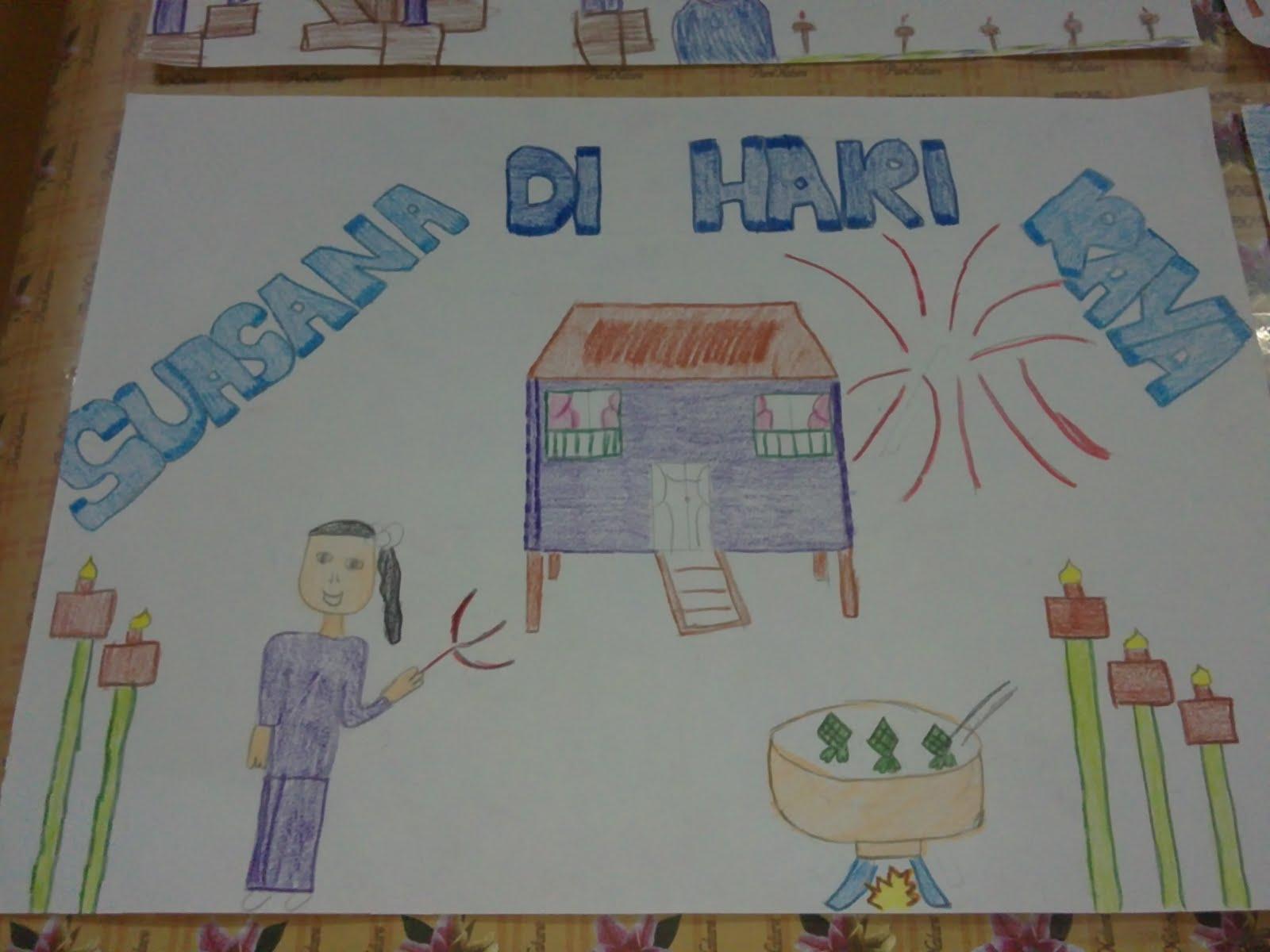 Lukisan Poster Suasana Di Hari Raya