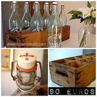 Tienda online de decoración vintage. Cajas de madera litografiadas antiguas y botellas de cristal viejas de segunda mano para decorar.