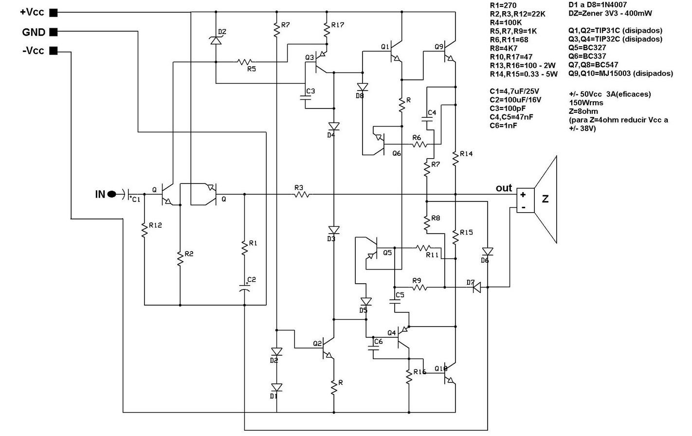 Circuito Eletronico : Circuitos eletrônicos amplificador de wrms transistorizado