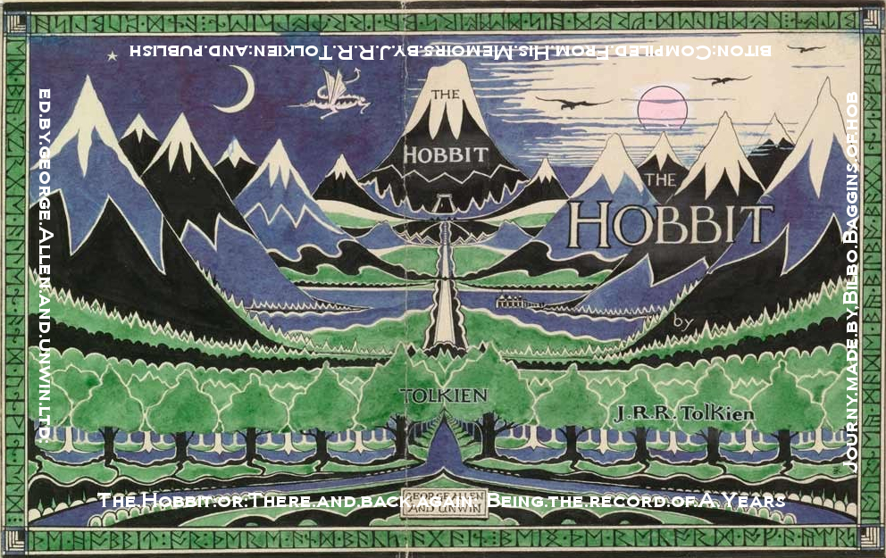 "Cover with translated runes ""The Hobbit or There and Back Again being the record of a years journey by Bilbo Baggins of Hobbiton."
