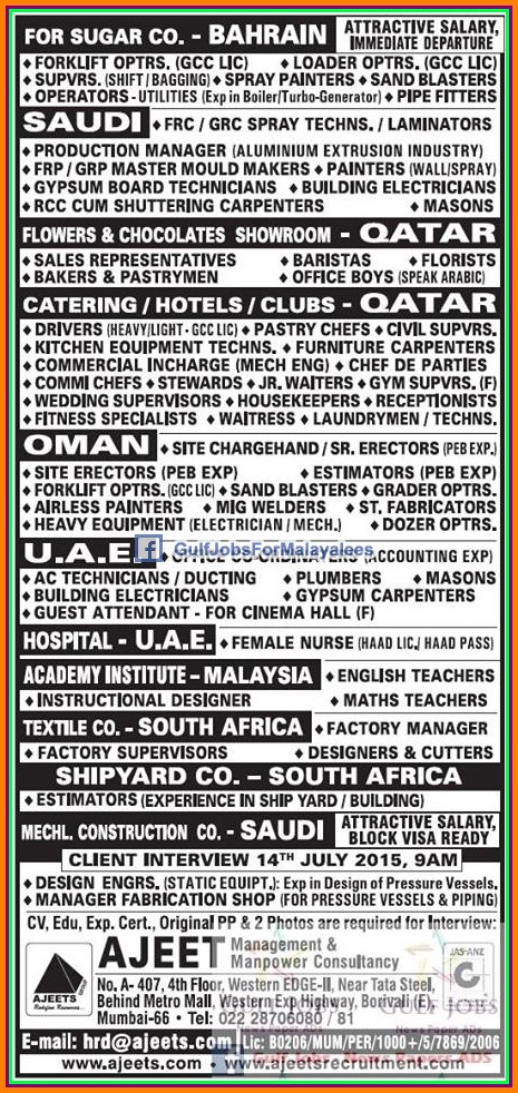 Bahrain, KSA, Malaysia, South Africa, Qatar, UAE & Oman ...