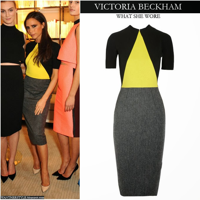 WHAT SHE WORE  Victoria Beckham in colorblock yellow black and grey ... 2fa17c030e2
