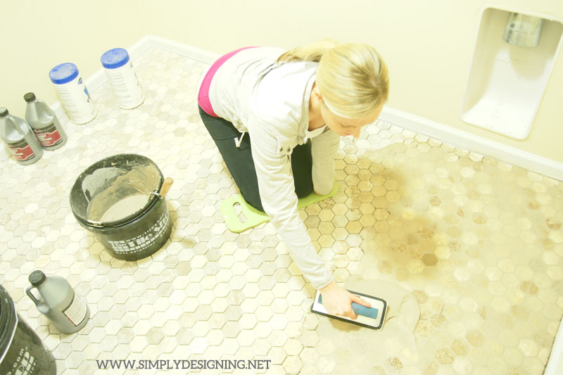 How to Grout Tile Floors | a complete tutorial for how to demo, prep, install concrete backer board and install new tile floors | #diy #tile #homeimprovement #hexagontile #travertine #thetileshop @thetileshop