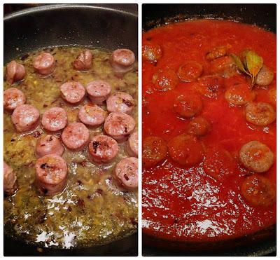 salsa de tomate con salchichas