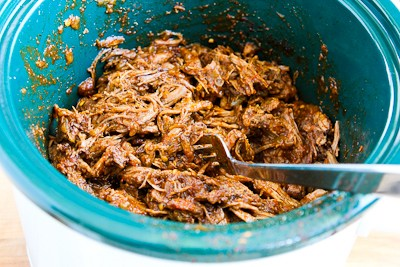 Slow Cooker Shredded Beef Tacos with Spicy Slaw and Avocado found on ...