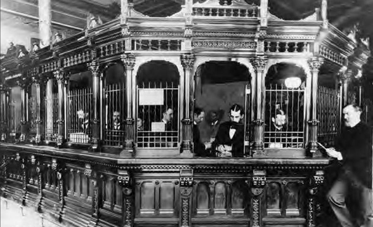 old bank teller bing images. Black Bedroom Furniture Sets. Home Design Ideas