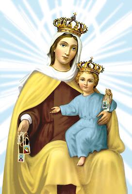 La Virgen del Carmen con el Niño sentado en su regazo. Ambos muestran su escapulario.