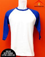 Jual Kaos Polos Raglan Biru Putih