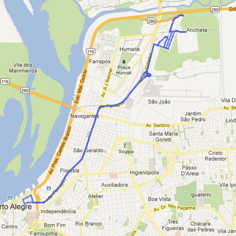 Trajeto da linha de ônibus 702-1 Bairro Anchieta, Porto Alegre.