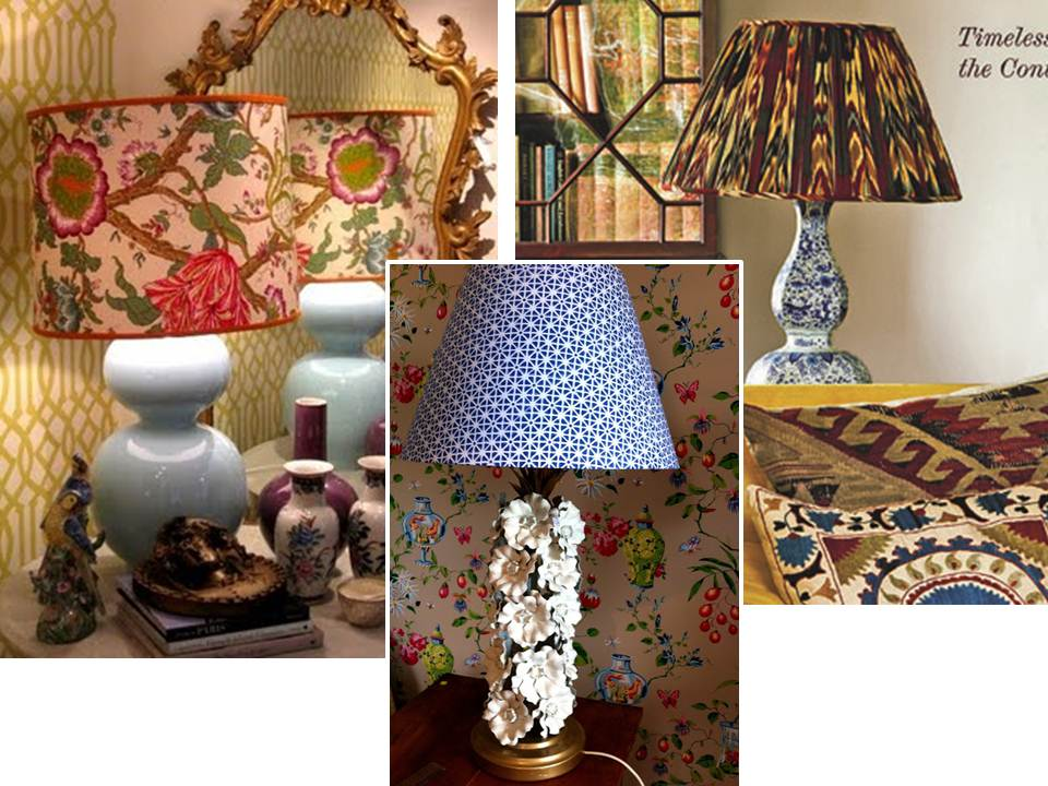 Southland avenue patterned lampshades i love the look of a beautiful patterned lampshade i think that they can totally change the look of a lamp and add interest to a boring corner of a room aloadofball Choice Image