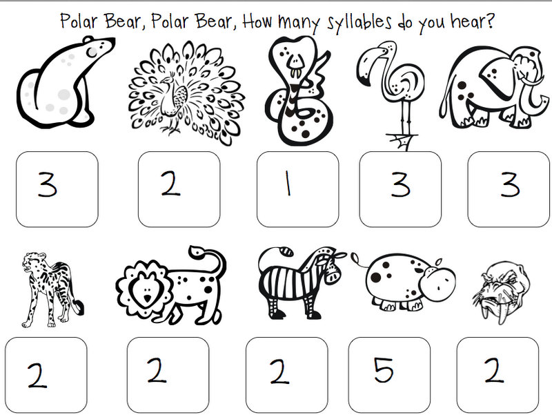 math worksheet : headlinesandmore polar bear polar bear book companion with freebie : Kindergarten Syllable Worksheets