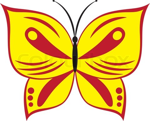 vector illustration of cartoon red and yellow butterfly