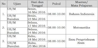 Jadwal US SD/MI tahun 2016