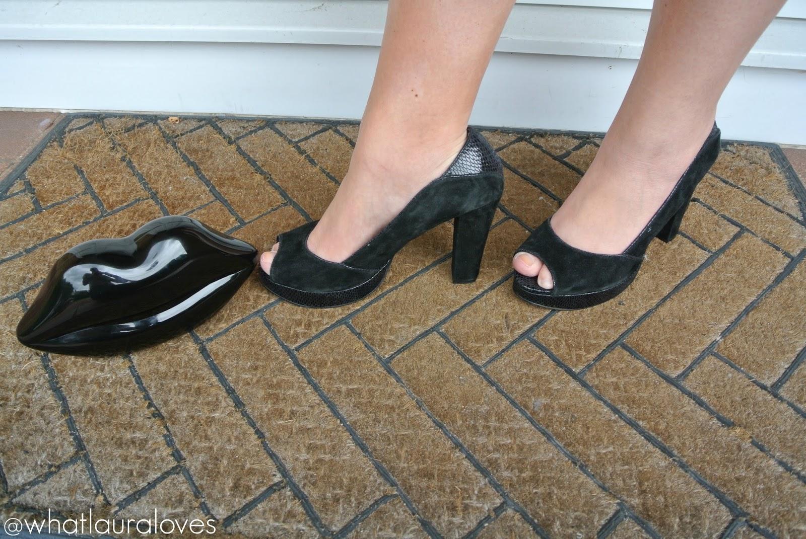black clutch and heels