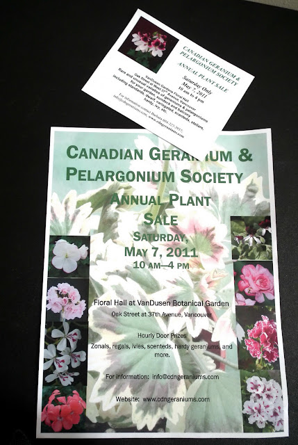 Canadian Geranium and Pelargonium Society Vancouver - 2011 Plant Sale Poster and Flyer
