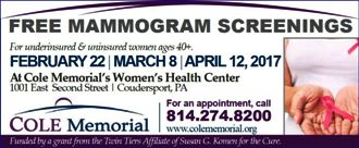 2-22 Free Mamogram Screenings