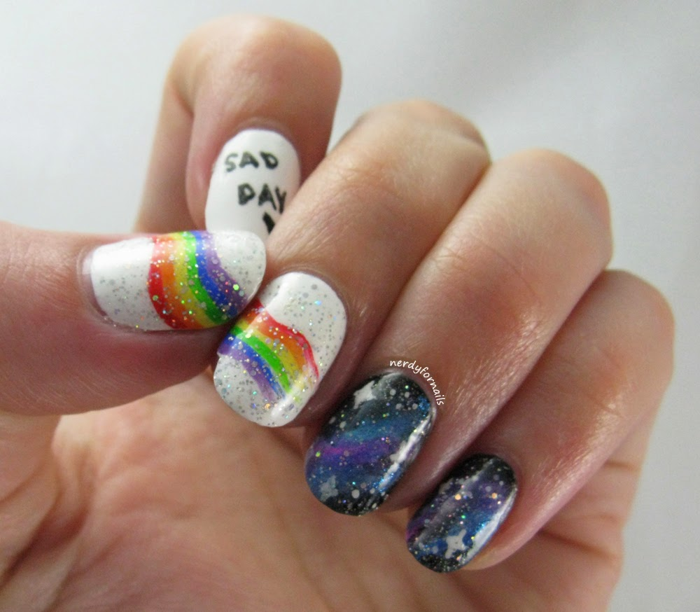 Nubbins Short Nails- Broken Nail with Rainbow and Galaxy