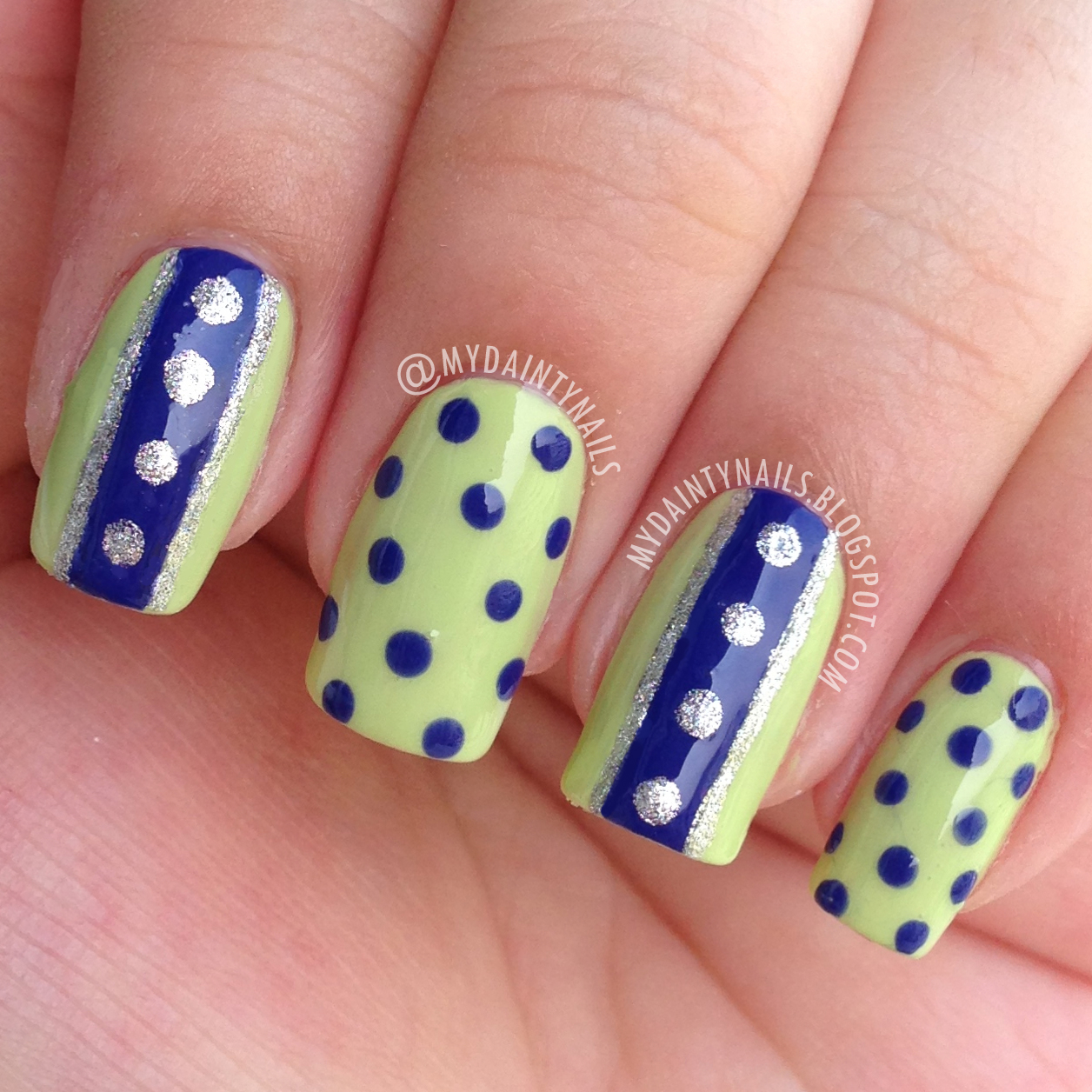 My Dainty Nails: Green & Blue Dots & Stripes