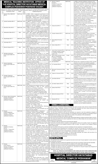Doctors, Nurse & Admin Jobs in Hayatabad Medical Complex