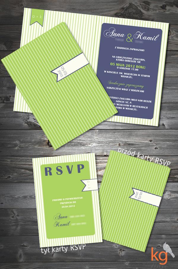 oryginalne i nietypowe zaproszenie ze zdjęciem, motyw przewodni, paski, zielony, artystyczne zaproszenia ślubne, zaproszenie na ślub, zawiadomienie o ślubie, zaproszenie w paski,