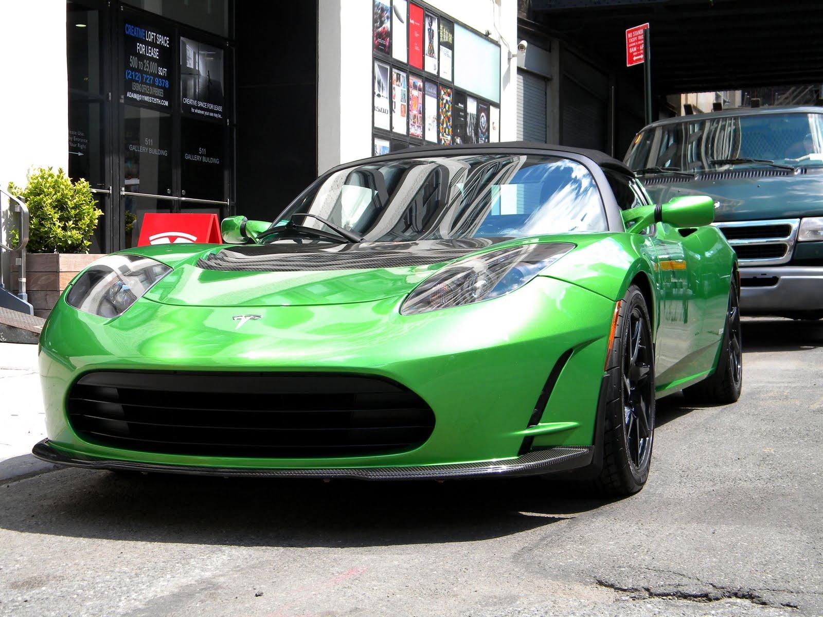 Green Tesla Roadster