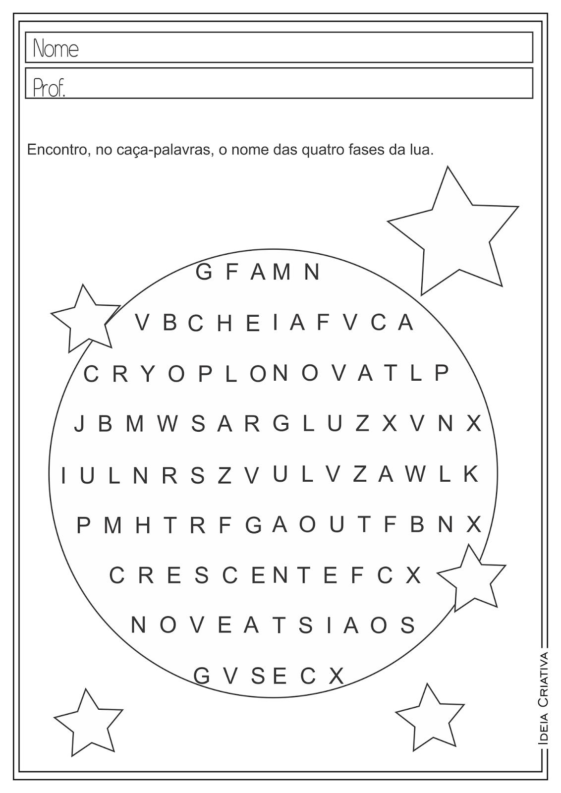 Atividades Educativas Ciências Fases da Lua Ensino Fundamental