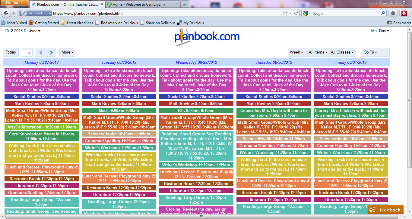 Day 39 s class notes using an on line lesson plan book for Plan books