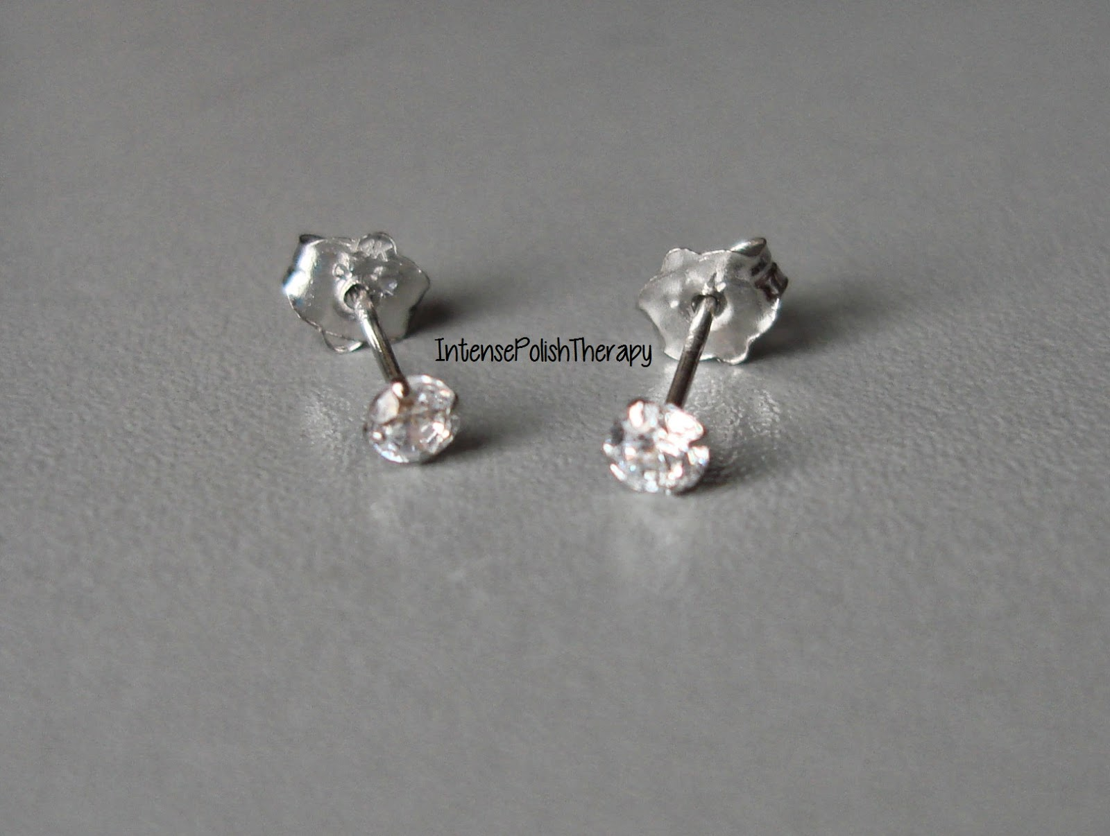 BLING 14KT. WHITE GOLD MARTINI STUD EARRING CLEAR CZ