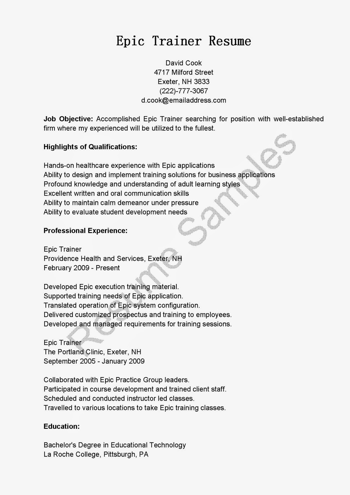 Resume Samples Epic Trainer Resume Sample