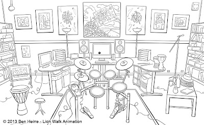 Ben Heine Studio - Lion Walk Animation Intro - 2013 - Drawing
