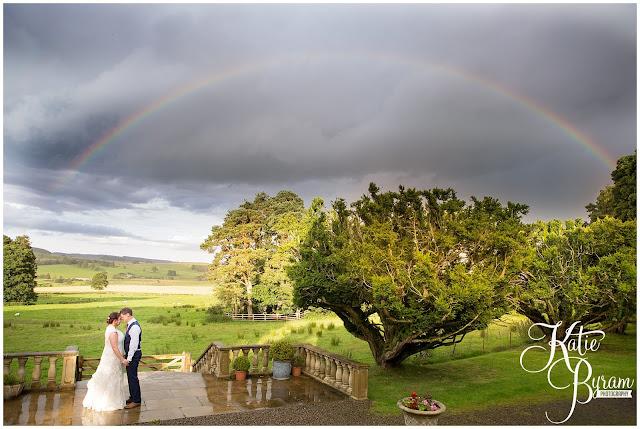 rainbow, woodhill hall, northumberland wedding venue, woodhill hall wedding photographs, woodland wedding, otterburn wedding, katie byram photography,