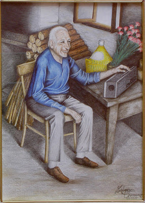 ritratto di nonno che ascolta la musica