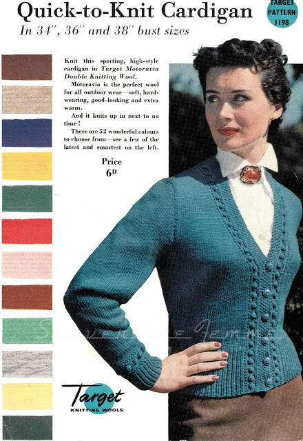 Quick Cardigan Knitting Pattern : The Vintage Pattern Files: 1950s Knitting - Quick To Knit Cardigan