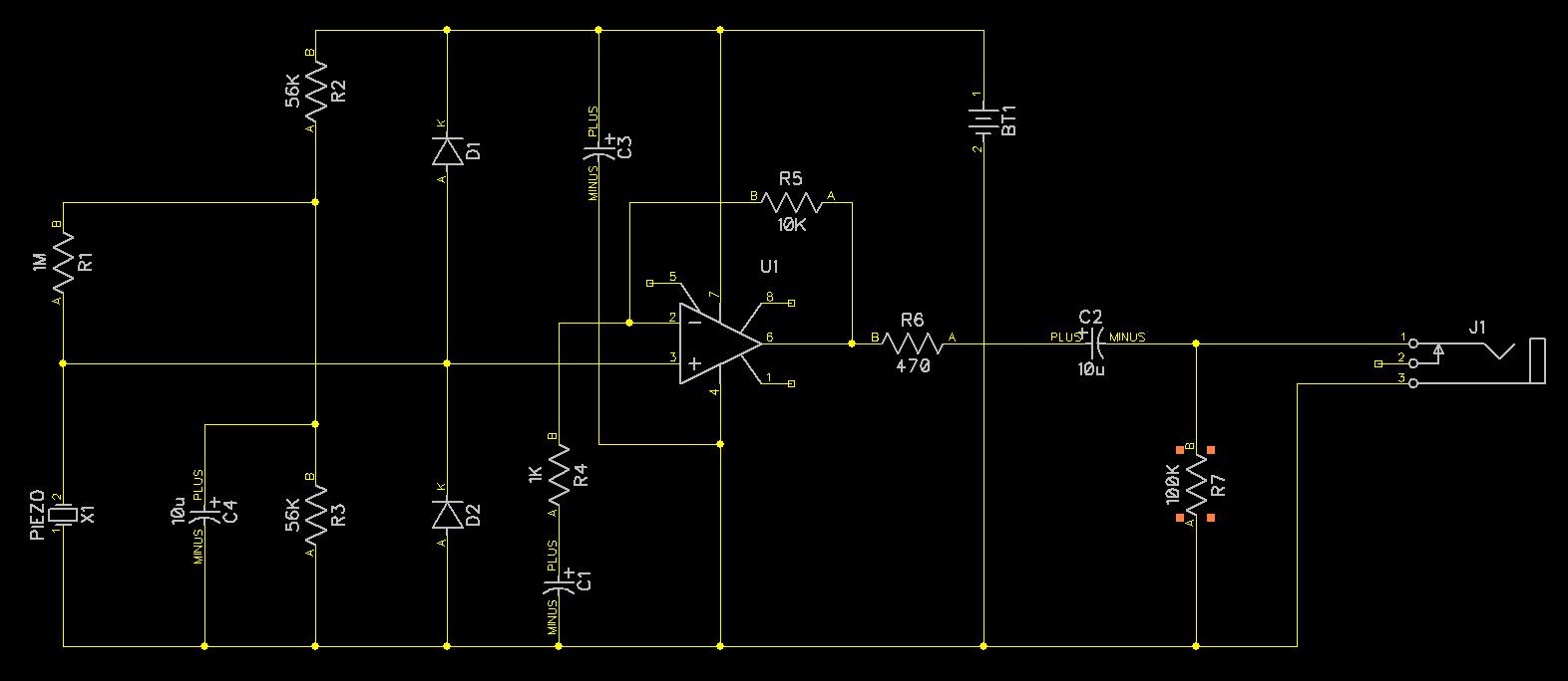 Aufgebaut Build Piezo Contact Mic Amplifierlow Noise Version With Low Audio Preamplifier Circuit Redrawn Schematic Made Diptrace