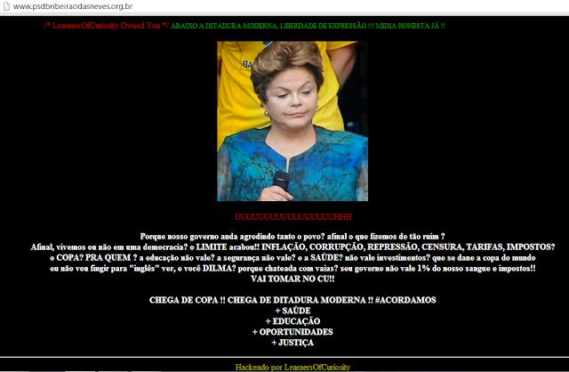 O grupo de hackers LearnersOfcuriosity invadem pagina psdb de Ribeirão das Neves