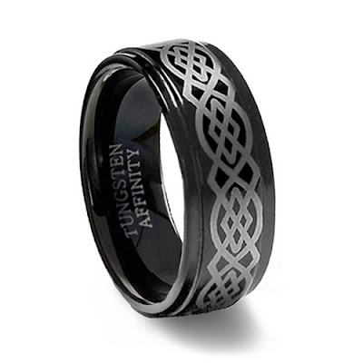 Black Tungsten Wedding Ring Celtic Design 8MM Width Size 13