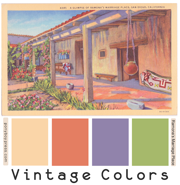 Vintage Color Palette - Ramona's Marriage Place - Get hex codes on the blog ponyboypress.com