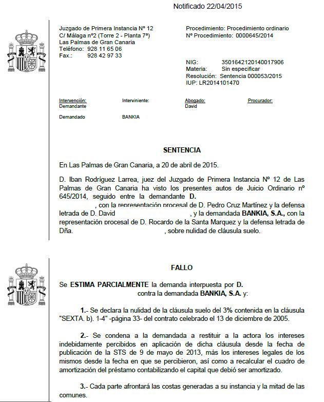 Nueva sentencia conseguida por nuestros abogados en for Sentencia devolucion clausula suelo