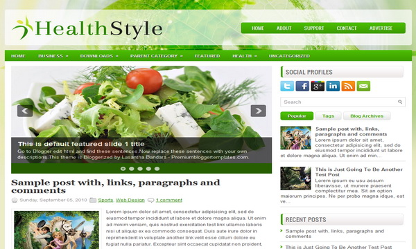 HealthStyle 2 Column Blogger Template