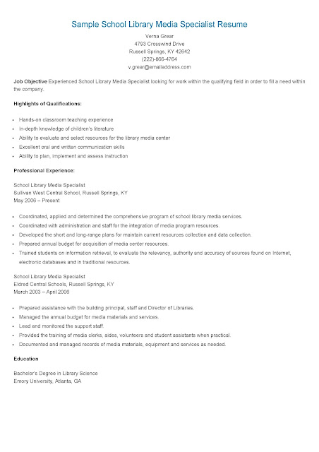 resume sles sle school library media specialist resume