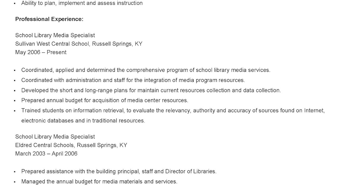resume samples sample school library media specialist resume