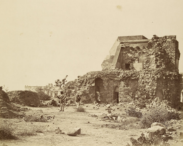 Ruins of Pir Ghaib Observatory and Battery and Hindu Rao's House in the Distance