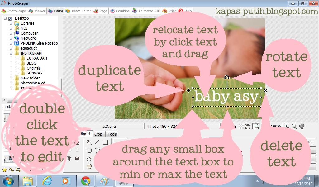 Info berkenaan text box - Photoscape
