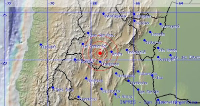 Epicentro sismo 5,2 grados en Catamarca, Argentina, 13 de Julio 2013