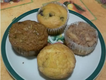 blueberry muffin, apple streusel muffin, bacon and cheese muffin, zucchini-carrot-raisin muffin