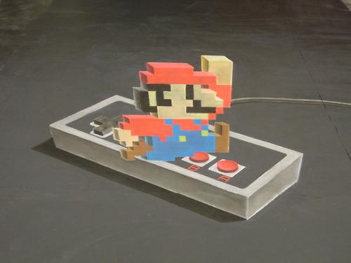 Super Mario 3D dibujado con tizas