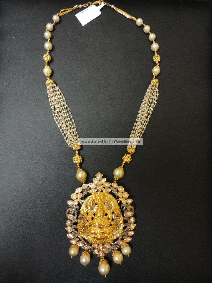 Latest Temple Jewellery designs with Lakshmi Krishna and Ganesh