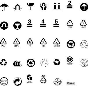 Símbolos de embalaje, almacenamiento, reciclaje y transporte