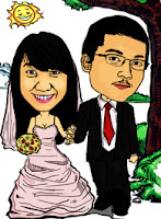 wedding caricature (walking in the forest)