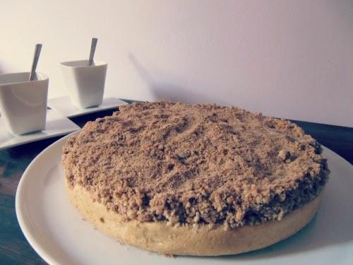 Presentación tarta de manzana con crumble